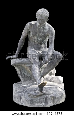 Ancient greek replica statue cropped on black background - stock photo