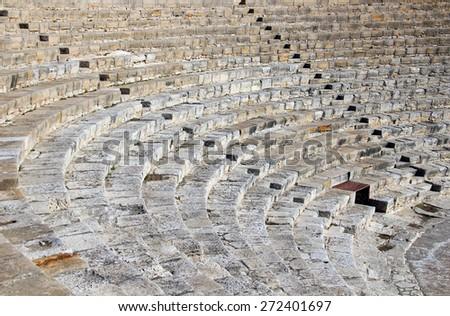 Ancient Greek-Roman theater in Kourion, Limassol, Cyprus - stock photo