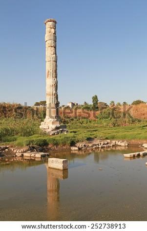 Ancient Greek Ruins of temple of Artemis in Ephesus Turkey - stock photo
