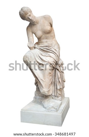 Ancient greek statue of a nude venus isolated on a white background with clipping path - stock photo
