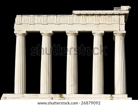 Ancient Greek temple isolated on black - stock photo