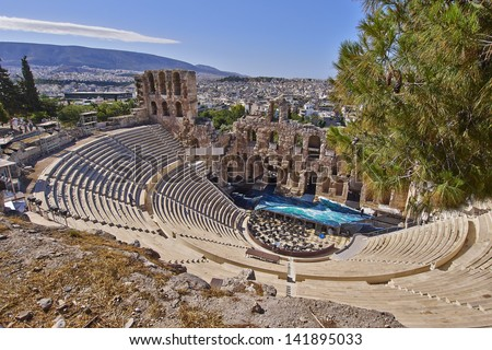 ancient Greek theatre under Acropolis before the performance - stock photo