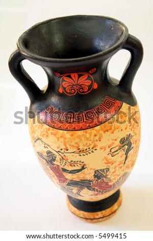 Ancient Greek vase on white background - stock photo