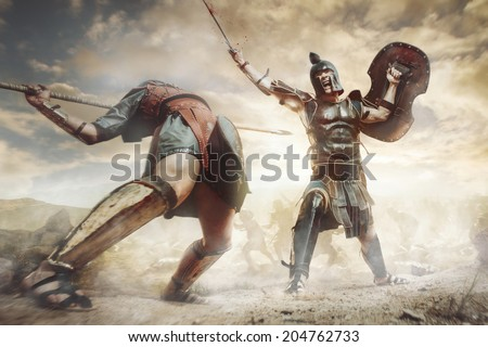 Ancient Greek warrior fighting in the combat - stock photo
