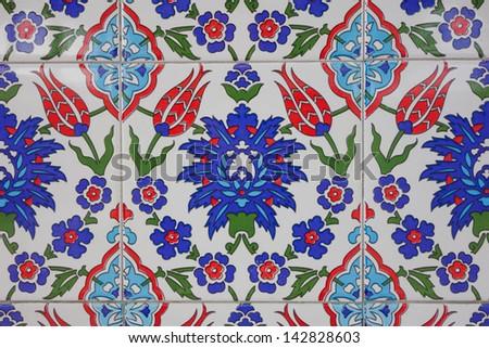 Ancient hand made Turkish - Ottoman tiles  - stock photo