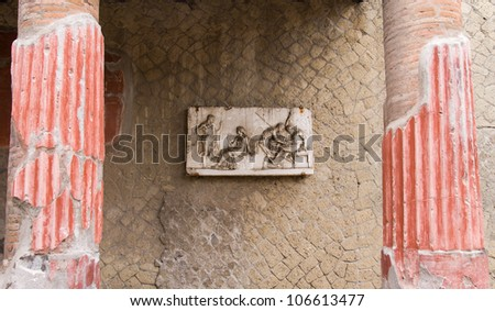 Ancient Herculaneum Fresco, Naples, Italy - stock photo
