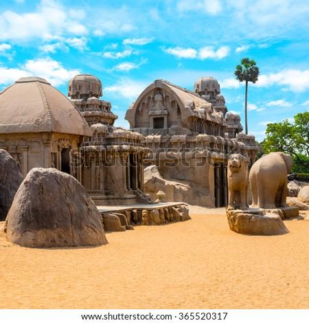 ancient Hindu monolithic Indian rock-cut architecture Pancha Rathas - Five Rathas, Mahabalipuram, Tamil Nadu, South India, close up - stock photo