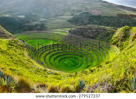 Ancient Inca circular terraces at Moray (agricultural experiment station), Peru  - stock photo
