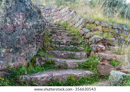 Ancient Inca's ruins near Pisac village, Sacred Valley of Incas, Peru - stock photo