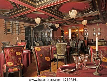 Ancient interior of restaurant - stock photo