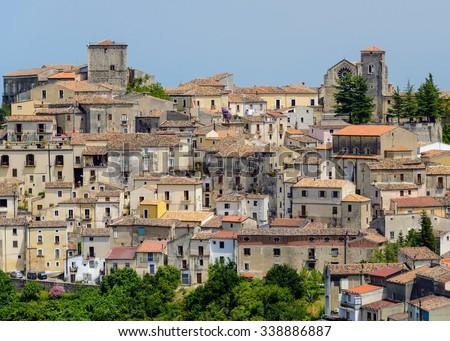 Ancient italian town Altomonte shabby houses, Cosenza, Calabria, Italy. - stock photo
