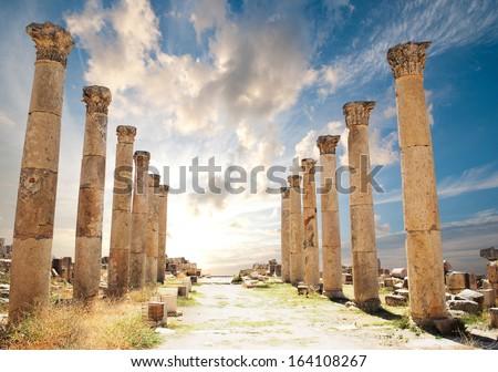Ancient Jerash. Ruins of the Greco-Roman city of Gera at Jordan  - stock photo