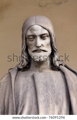 Ancient Jesus on a old Prague Cemetery, Czech Republic - stock photo