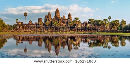 Ancient Khmer architecture. Panorama view of Angkor Wat temple at sunset. Siem Reap, Cambodia - stock photo