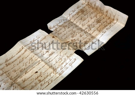 Ancient letter with cursive ink scripture - stock photo