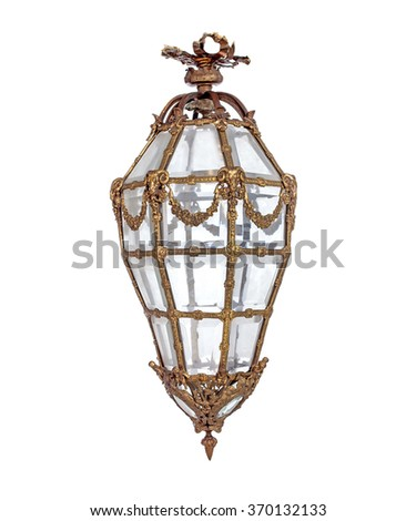 Ancient lighting appliance isolated over white - stock photo