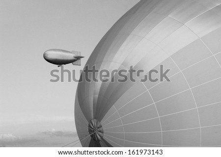Ancient looking airship - technically altered into old looking - stock photo