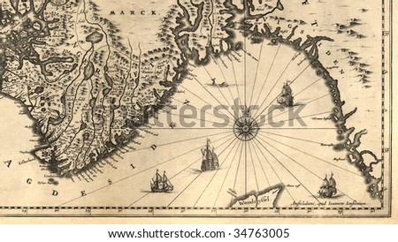 Ancient map of a southern part of Norway (1630) - stock photo