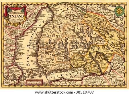 Ancient map of Finland (17 centuries) - stock photo