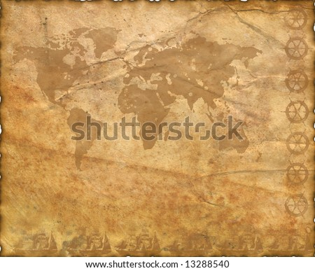 Ancient map of the world. The torn, scorched edges. Old Paper Texture . - stock photo