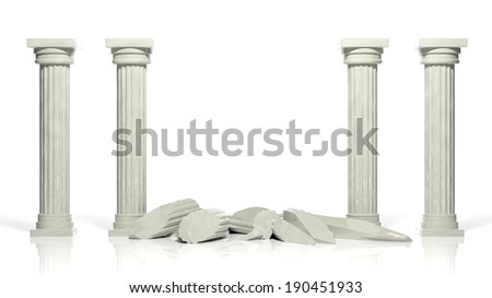 Ancient marble pillars with two middle broken isolated on white - stock photo