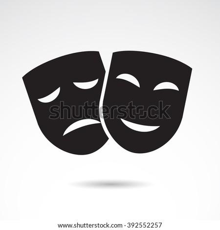 Ancient mask icon isolated on white background. - stock photo