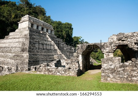 Ancient Mayan city of Palenque (Mexico) - stock photo