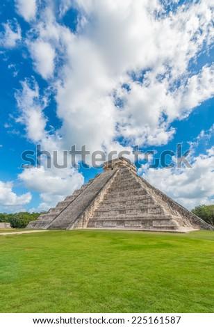 Ancient Mayan civilization historical ruins. Kukulcan Temple at Chichen Itza, Mexico. - stock photo