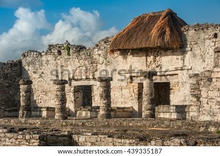 Ancient Mayan ruins at Tulum. Riviera Maya beside Caribbean Sea.  - stock photo