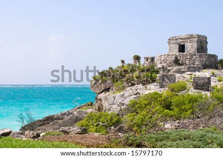 Ancient mayan ruins in Tulum, Mexico - stock photo