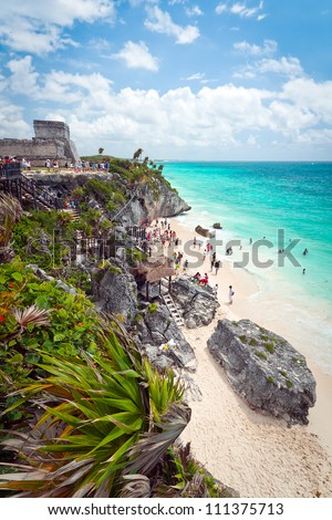 Ancient Mayan ruins temple on the beach of Tulum, Mexico - stock photo