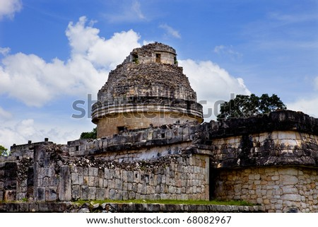 Ancient Mayan temple detail at Chichen Itza, Yucatan, Mexico - stock photo