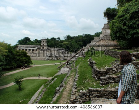 Ancient Mayan temples at the Palenque ruins in Mexico - stock photo