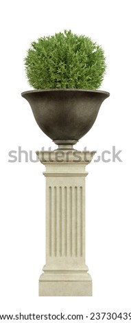 Ancient metal vase on a stone pedestal  with plant isolated on white - 3D Rendering - stock photo