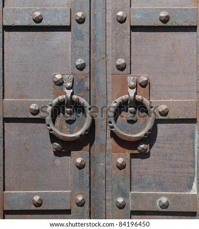 ancient metallic door - stock photo