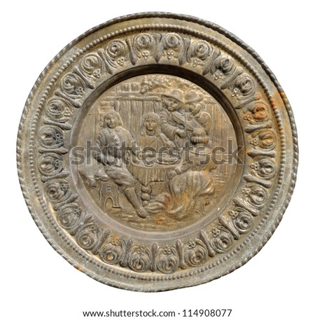 Ancient Mexican colonial copper tray - stock photo