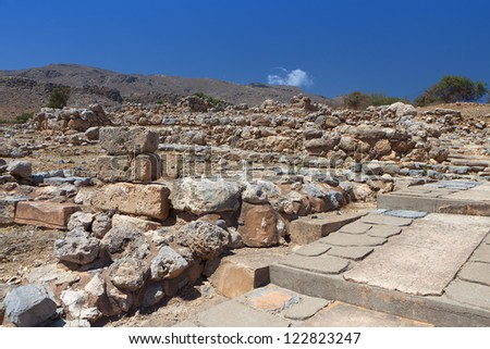 Ancient Minoan palace of Kato Zakros at Crete island in Greece - stock photo