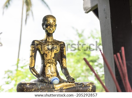 Ancient monk sculpture in thai  old temple - stock photo