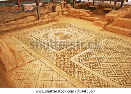 Ancient mosaic in Kourion, Cyprus. - stock photo