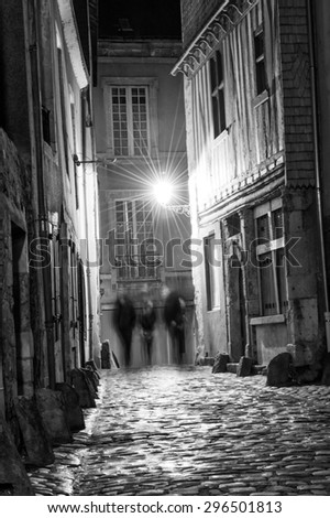 Ancient narrow streets of Plantagenet city in downtown Le Mans, France - stock photo
