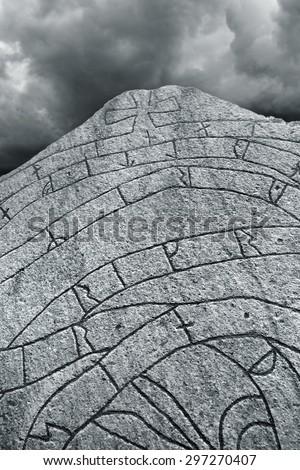 Ancient Nordic Runestone - stock photo