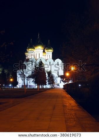 Ancient ortodox christian curch in the night in Yaroslavl - stock photo