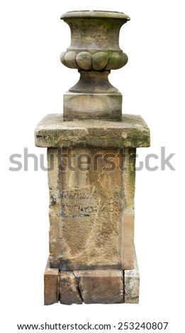 Ancient outdoor vase isolated, clipping path included - stock photo