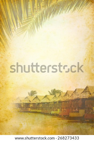 Ancient page of paper about exotic holidays on a tropical beach in bungalow. Vintage poster for exotic travel in a tropical country, design in retro style. - stock photo