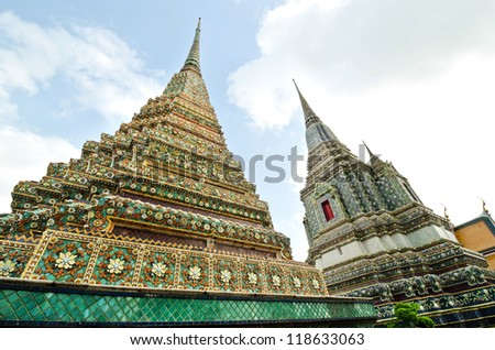 Ancient Pagoda or Chedi at Wat Pho, Thailand.This is traditional and generic style in Thailand. No any trademark or restrict matter in this photo. - stock photo