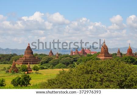 Ancient pagodas in old Bagan, Myanmar - stock photo