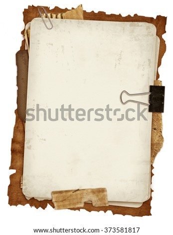 ancient papers design in scrapbooking style on white - stock photo