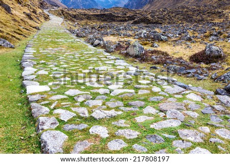 Ancient paved Incan road on the El Choro trek in the Andes mountains near La Paz, Bolivia - stock photo