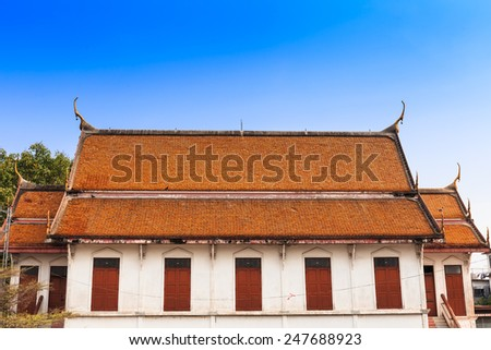 ancient pavilion hall in the temple - stock photo