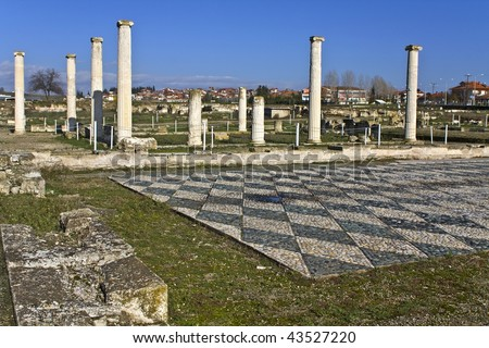 Ancient Pella at Macedonia, Greece, birthplace of Alexander the Great - stock photo